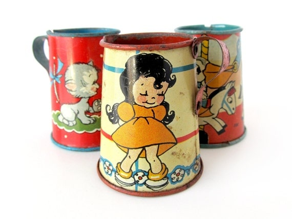 Tin Toy Pitchers - INSTANT COLLECTION - Set of 3 Tin Toys
