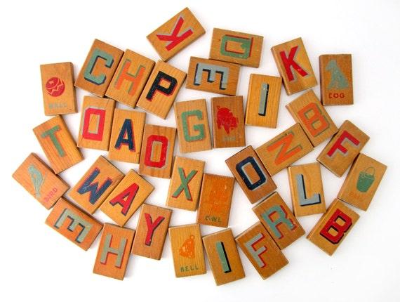 Alphabet Tile Blocks - Wooden Alphabet and Picture Blocks - Set of 35 Wood Blocks