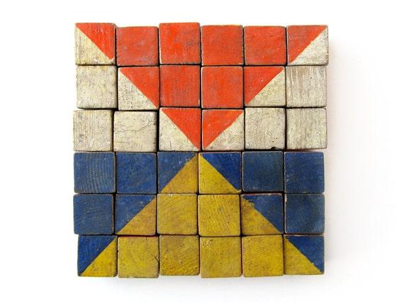 Color Cubes - Made In Germany - Set of 36 Vintage Wooden Blocks