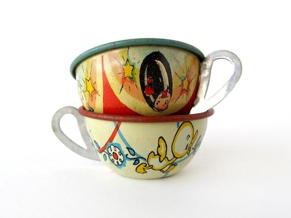 Tin Toy Teacups, Set of 2 Pieces