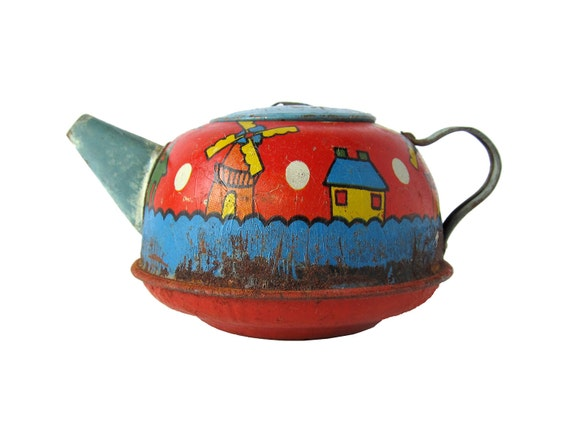 Dutch Teapot - Tin Toy Teapot With Windmills