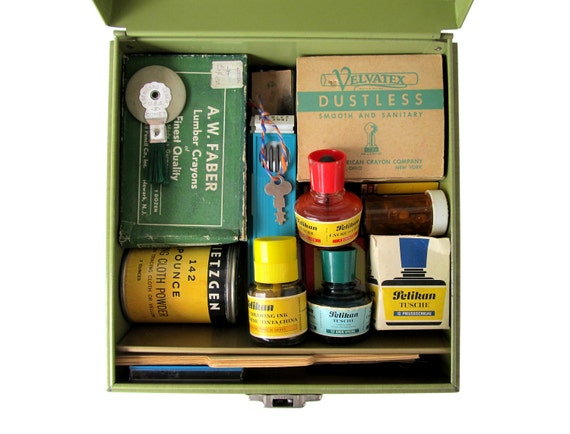 Vintage Office Supplies In A Retro Green File Box