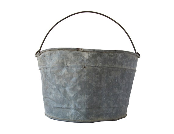 Galvanized Metal Bucket, Pail With Handle