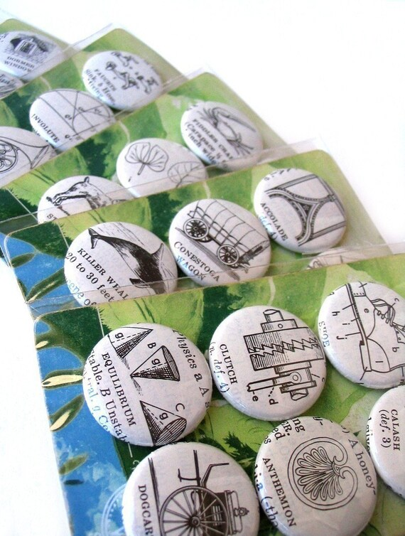 1966 Vintage DICTIONARY Magnets OR Pinback Buttons - Assorted Set of 6