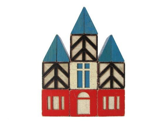 Village Wooden BUILDING Blocks - Set of 13 Vintage Blocks