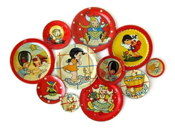 Vintage Toy Tin Saucer Collection - Set of 11 Tin Tea Set Pieces