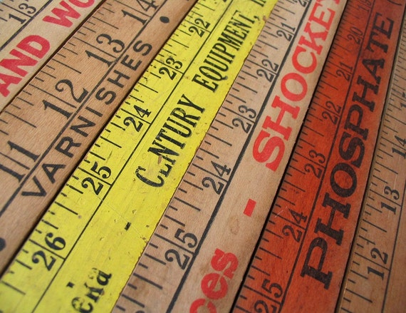 Vintage Wooden YARDSTICKS - Set of 6