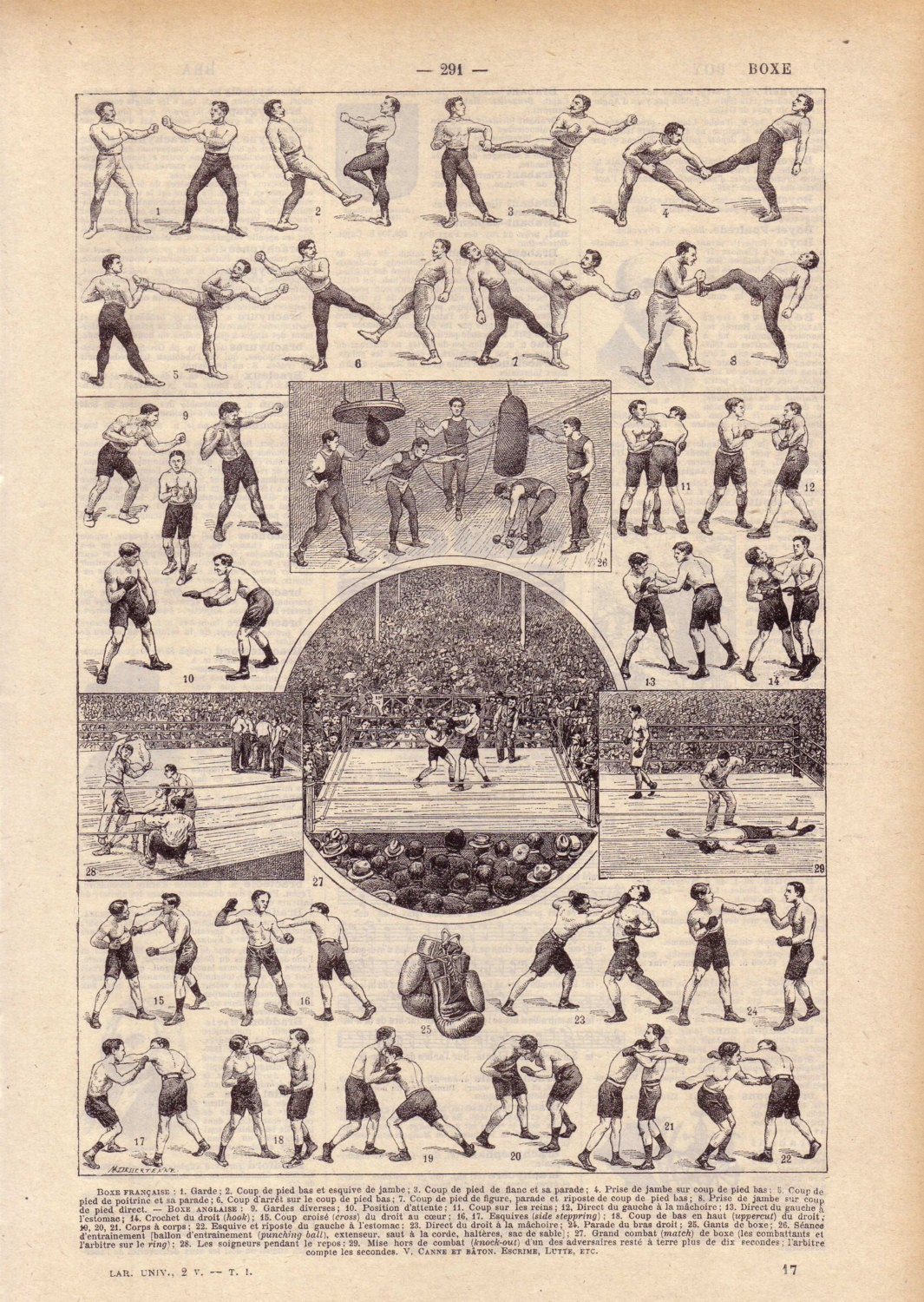 1922 Vintage Boxing French Dictionary Illustration