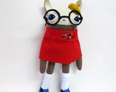 RESERVED FOR gingeryder-- Red-Caped Beatnik Rabbit - Made to Order