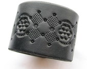 Diamond Deco - Wide Black Leather Cuff - Hand Tooled Original Design - Black Leather Cuff Bracelet