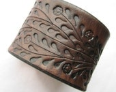 Wide Brown Leather Cuff Bracelet - Floral Vine Hand Tooled - Made of Top Quality Veg Tanned Leather