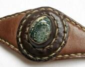 Leather Bracelet with Ocean Jasper Stone - 'Earth Cuff'
