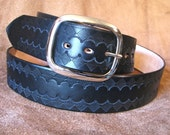 Custom Listing for LH - Wide Leather Belt - Navy Blue - Hand Tooled ''Daring Diamonds'' - Top Quality Vegetable Tanned Leather