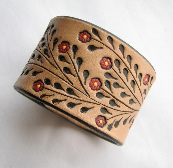 Leather Wristband Bracelet w Little Red Flowers - Hand Tooled Wide Cuff