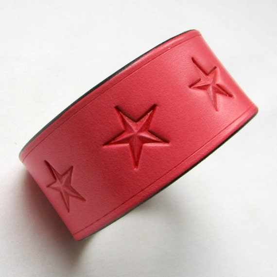 Clearance - Red Leather Cuff Bracelet - Big Stars - Tooled Leather Wristband