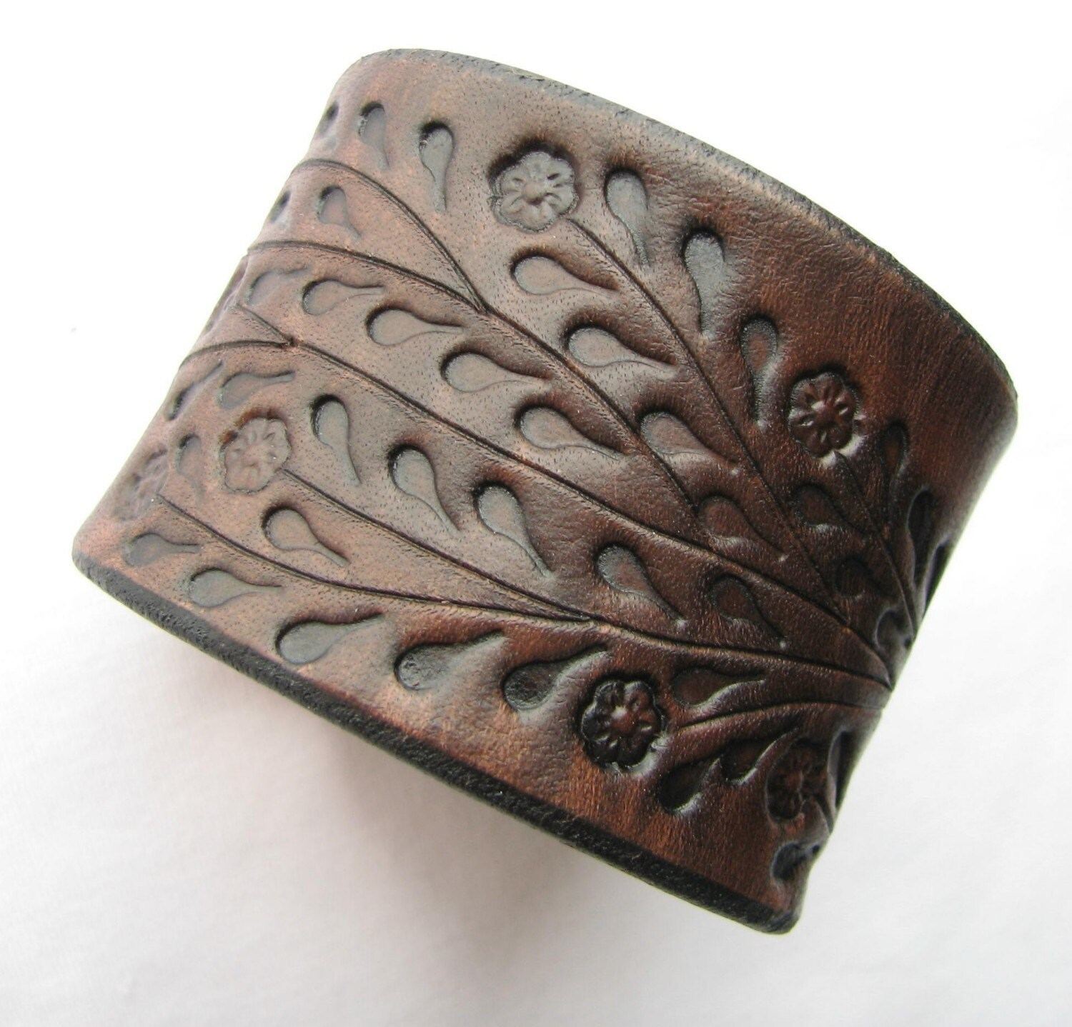 Wide Brown Leather Cuff Bracelet  Floral Vine Hand Tooled  Made Of Top  Quality Veg