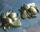 2 PC Raw Brass Dapped Large Bumble Bee -  0008T