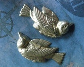 4 PC Raw Brass Art Nouveau Diving Bird Pendant Finding / 2 left and 2 right - DD15 and DD16