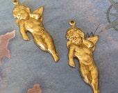 2 PC Raw Brass Winged Cherub Jewelry Finding - ZNE S0397