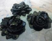 2 PC Vintage Black Rose Cabochon / Pendant 33mm - Z003
