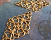 2 PC Brass Filigree Jewel Wrap  - Jewelry Finding - M0288