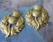 2 PC Large Scotch Thistle Brass Stamping - NN12