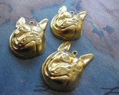 2 PC Raw Brass Boxer Dog Stamping - OO05