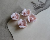 4 PC Blush Pink Porcelaine Flower Cabochon / German Bisque - 8mm
