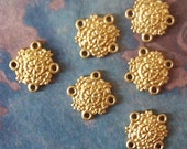 12 PC Raw Brass - Small Renaissance Medallion -  4 way Connector Finding - B0034