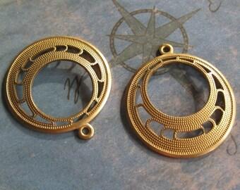 4 PC  Brass Art Deco Hoop Finding - Q0276