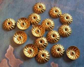 6 PC Art Deco Raw Brass Bead Cap / Jewelry Finding - C0057