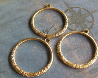 2 PC Raw Brass Victorian Hoop Jewelry Finding - Q0282