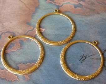 2 PC Raw Brass Victorian Hoop Jewelry Finding -  R0389