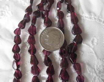 1 Strand - Garnet Gem - Flat Tear Drop Beads / 7mm long