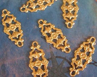 4 PC Raw Brass Deco Filigree Jewel Wrap or Link - E0111