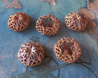 2 PC Victorian Filigree Fancy Raw Brass Bead/Button Cap - Jewelry Finding 14mm Bead -  M0300