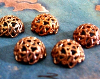 6 PC Art Nouveau Raw Brass Bead Cap / Jewelry Finding 8-10 mm Beads -C0050