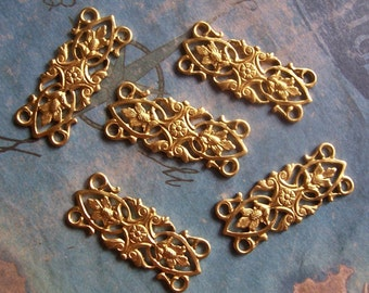 2 PC Victorian Filigree Floral Raw Brass Link Finding - E0119