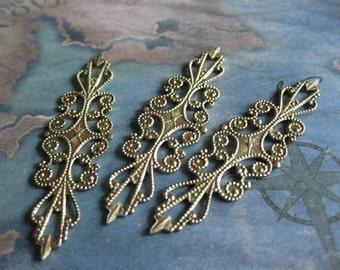 2 PC Brass Long Lace Filigree / Wrap - 0003U