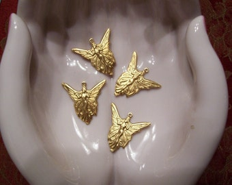 2 PC Raw Brass Nouveau Butterfly Fairy Pendant Finding / Charm -  H0174