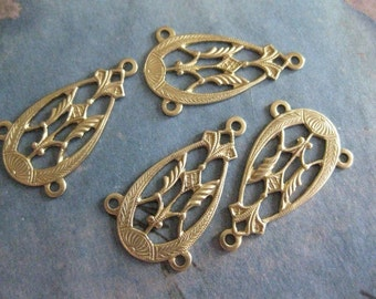 6 PC Raw Brass - Art Deco / Victorian - Drop / Earring Finding - X0010