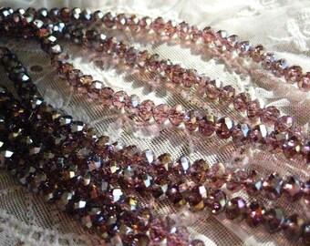 1 Strand Lt. Amethyst AB - 6 mm Crystal Cushion Beads
