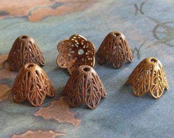 2 PC Victorian Filigree Fancy Brass Bead Cap - Jewelry Finding -R0381