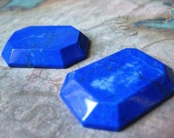 1 PC Large Emerald Cut / Lapis Dyed Howlite Cabochon - 30 x 40mm - Z012