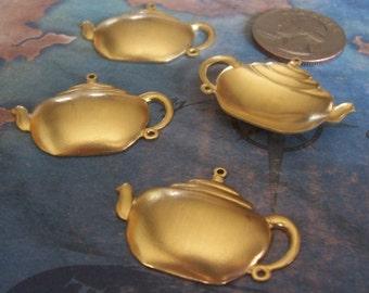 2 PC Brass Tea Pot Focal / Charm - H0172