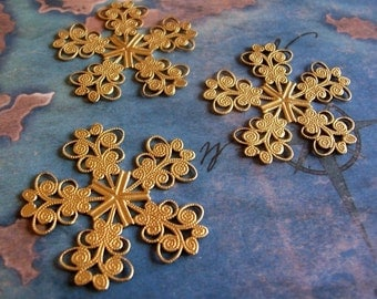 2 PC Raw Brass Rococo Filigree - Floral Jewelry Finding -  M0289