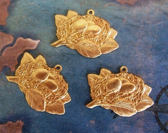 4 PC Brass Birds Nest Pendant Finding -  J0202