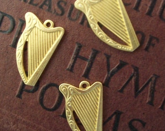 2 PC Raw Brass Victorian Harp Pendant / Charm Finding - A0010