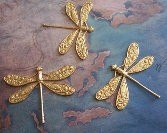 2 PC Raw Brass LG Art Deco Dragonfly Jewelry Finding / Wrap - F0126