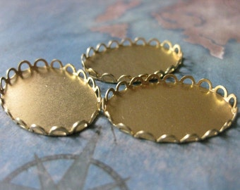 6 PC Raw Brass Lace Edge Bezel Cup Setting - 25 x 18mm Cabochons and Cameos - FF08